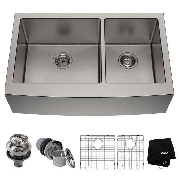 Kraus KHF201-33 33-inch Farmhouse Apron Stainless Steel Kitchen Sink
