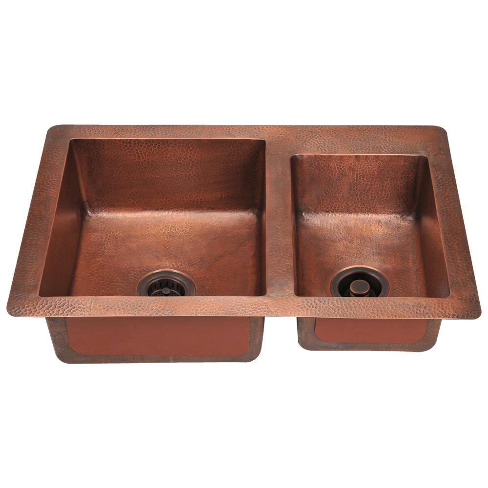MR Direct Offset Double Bowl Copper Sink