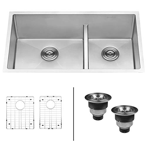 Ruvati 33-inch Low-Divide Undermount Tight Radius Double Bowl Stainless Steel Kitchen Sink
