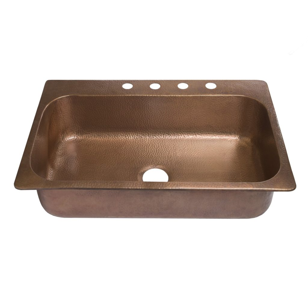 Sinkology SK101-33AC Angelico Drop-in Copper Kitchen Sink