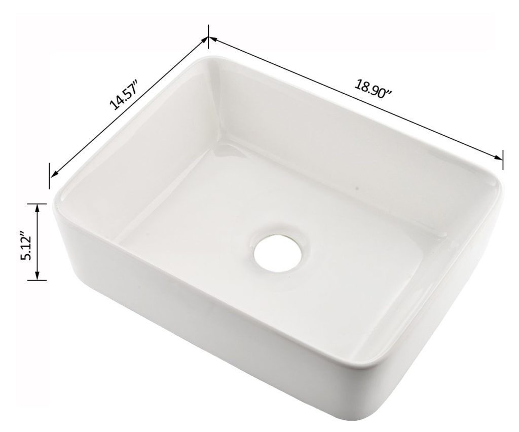 Vccucine Rectangle Above Counter Porcelain Ceramic Vessel Sink