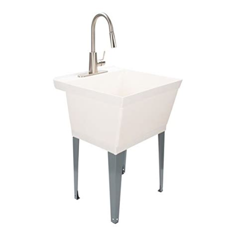 Maya Laundry Sink Utility Tub with High Arc Stainless Steel Kitchen Faucet